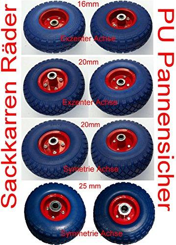2 Stück PU-Räder 260 mm mit Kugellager Sackkarrenrad Bollerwagenrad Vollgummi pannensicher (25mm...