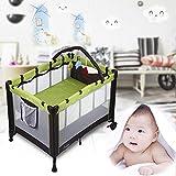 Babybett 2-in-1 Konzept vom Reisebett und Laufstall, Klappbett mit Laufstall höhenverstellbar mit...