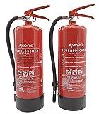 2x Feuerlöscher 6kg ABC Pulver-Feuerlöscher der Profi mit 10 LE für Handwerk, Gewerbe und...